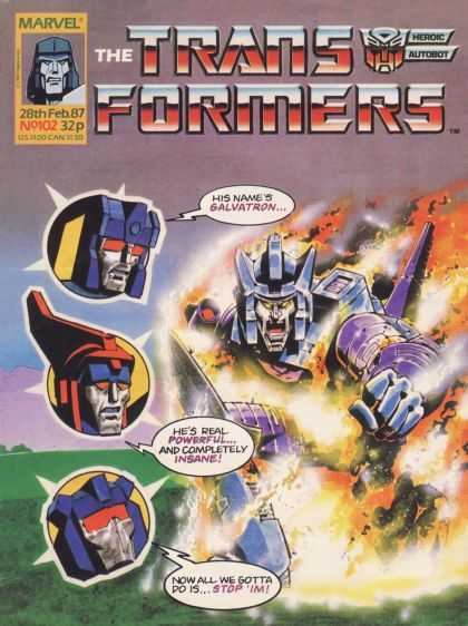 Transformers (UK) 102 - Marvel - Galvatron - Heroic Autobot - Powerful - Insane
