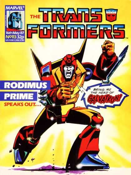 Transformers (UK) 113 - Rodimus Prime - Speaks Out - Bring Me The Head Of Galvatron - Charging Forward - Robot Form