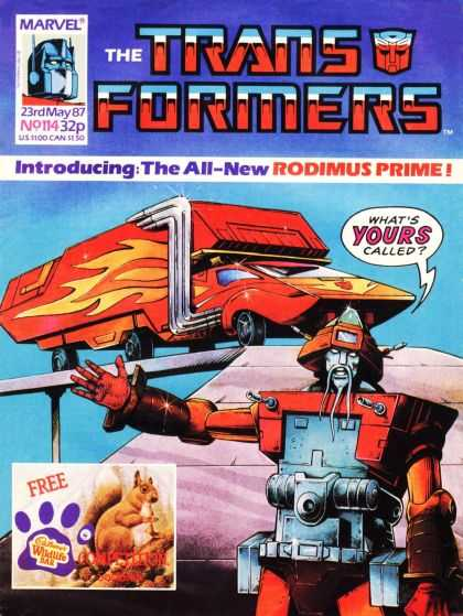 Transformers (UK) 114 - Rodimus Prime - Robots In Disguise - Cadburys Wildlife Bar - Red - Whats Yours Called