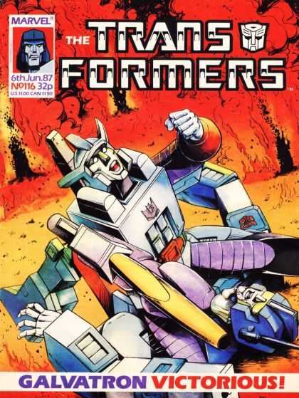 Transformers (UK) 116 - Galvatron Victorious - Red Flames - Fist In Air - On The Ground - June 6th 1987