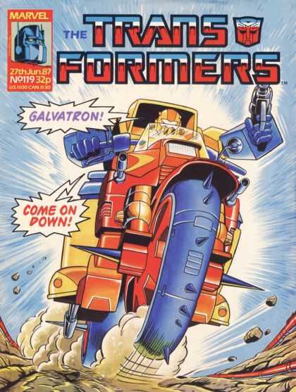 Transformers (UK) 119 - Galvatron - Motorcycle Robot - Gun - Ground - Come On Down