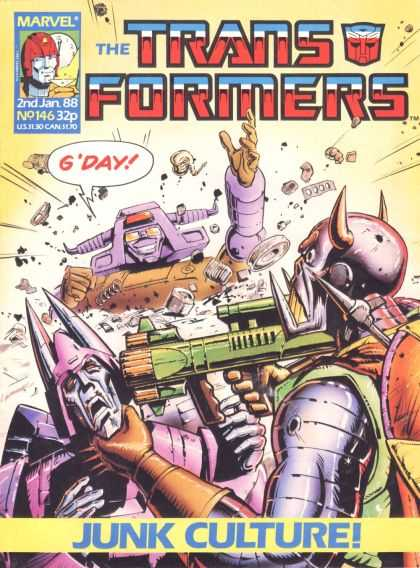 Transformers (UK) 146 - Junk Culture - Robots - Fighting - Gun - Gday