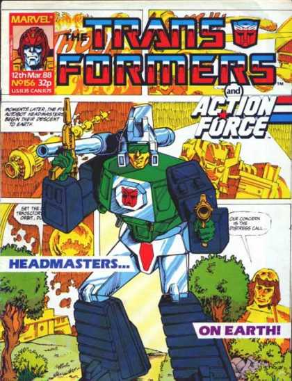 Transformers (UK) 156 - Action Force - Marvel - 12th Mar 88 - No 156 - 32p