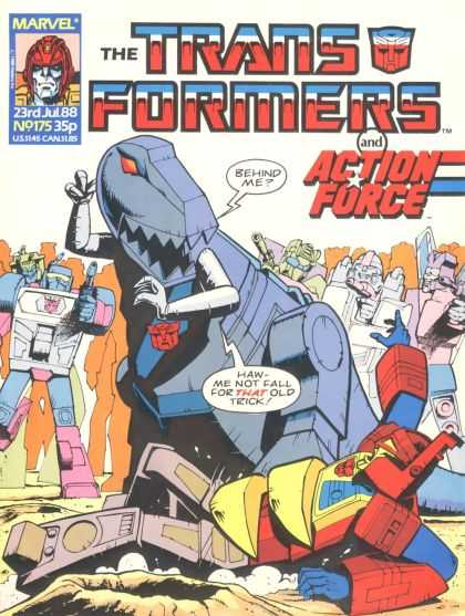 Transformers (UK) 175 - And Action Force - Marvel Comics - Robot - Dinosaur - Fight