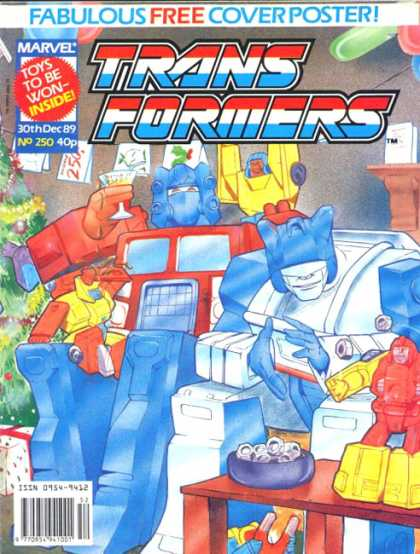 Transformers (UK) 250 - Fabulous Free Coverposter - Mavel - Toys To Be Won-inside - December Issue - Christmas Tree