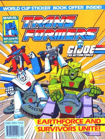 Transformers (UK) 274 - World Cup Sticker Book - Gi Joe - Action Force - Marvel No 274 - Earthforce And Survivors