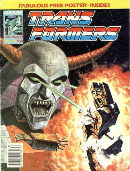 Transformers (UK) 320 - Fabulous Free Poster - Huge Horned Robot - Shooting Beams From Eyes - Destroyed Robot - Outer Space