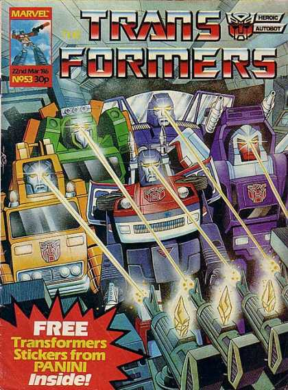 Transformers (UK) 53 - Marvel - Robots - Blasters - Stickers From Panini - Battle
