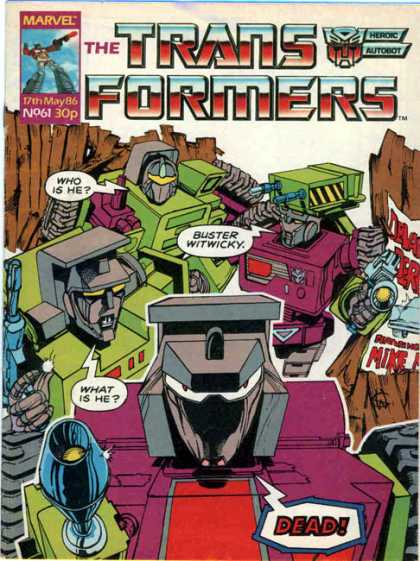 Transformers (UK) 61 - Robots - Buster Witwicky - Dead - Poster - Guns