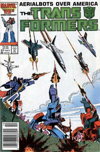 Transformers 21 - Optimus Prime - Aerialbots Over America - Diving Aircraft - Shooting - Marvel 25th Anniversary