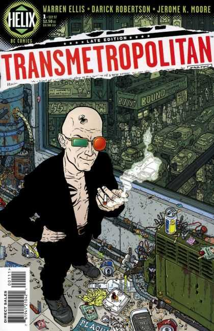 Transmetropolitan 1 - Black Spider Tatoo - Back Coat - Red And Green Glasses - Cityscape - Bald Man - Geof Darrow