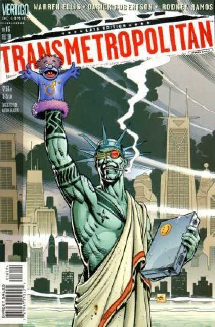 Transmetropolitan 16 - Smoking - Statue Of Liberty - Torch - Skyscrapers - Hand Puppet - Dave Gibbons