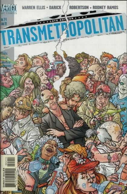 Transmetropolitan 24 - Crowd - Smoking - Drinking - Alcohol - Dc Comics - Geof Darrow
