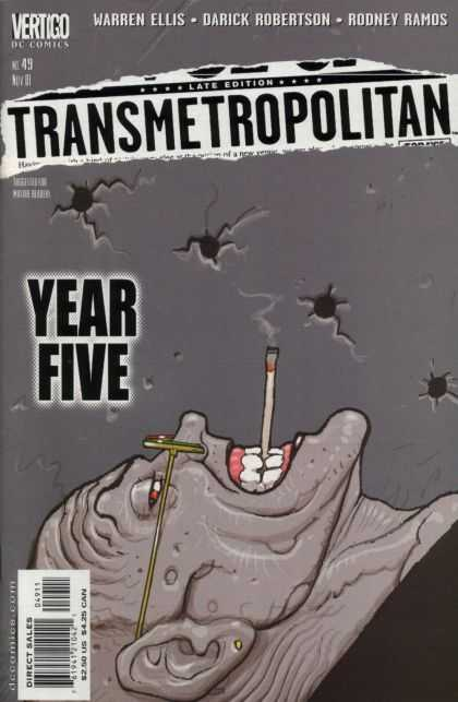 Transmetropolitan 49 - Bullet Holes - Cigarette - Glasses - Teeth - Wall - Jean Giraud