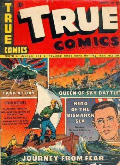 True Comics 26 - Tank At Bay - Airplane - War - Hero Of The Bismarck Sea - Journey From Fear