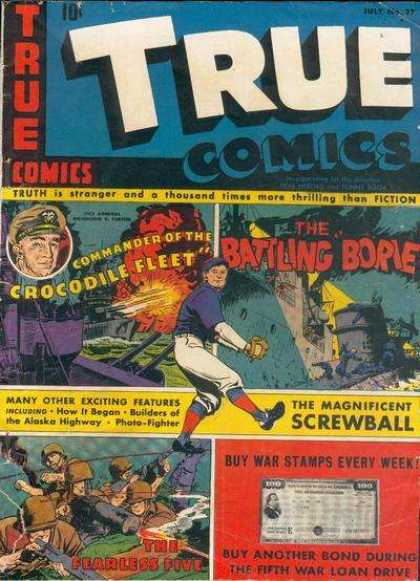 True Comics 37 - Crocodile Fleet - Battling - Screwball - War - Stamps