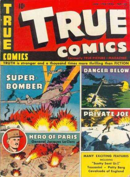 True Comics 42 - Super Bomber - Battleship - Tanks - Private Joe - Hero Of Paris General Jacques Leclerc