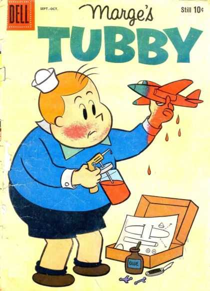 Tubby 42 - Toy Aeroplane - One Little Boy - Coloring The Aeroplane - Glue - Small Box