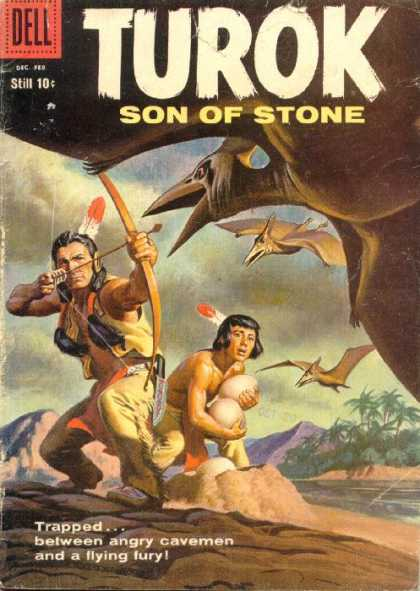 Turok: Son of Stone 14 - Dell - Dec - Feb - Still 10 Cents - Turok Son Of Stone - Indian Shooting Bow And Arrow