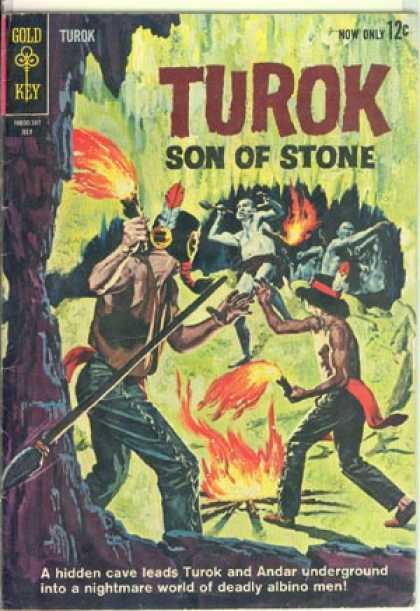 Turok: Son of Stone 34 - Son Of Stone - Gold Key - Indians - Fire - Cave