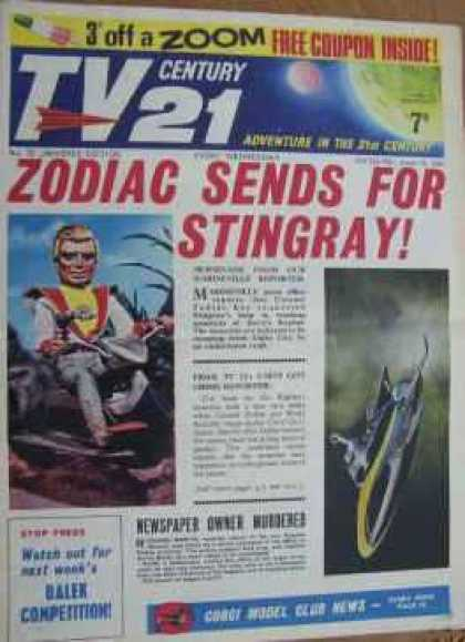 TV Century 21 22 - Adventure In The 21st Century - Zodiac Sends For Stingray - Spaceship - Newspaper Owner Murdered - Moon