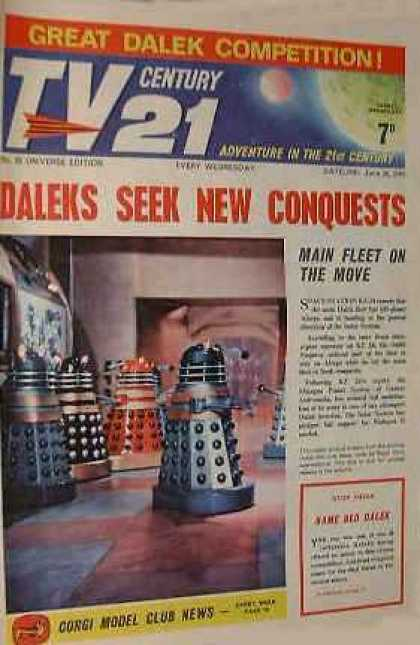 TV Century 21 23 - Great Dalek Competition - Conquests - Main Fleet On The Move - Corgi Model Club News - Adventure