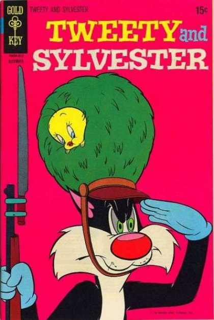 Tweety and Sylvester 16 - Gold Key - Bird - Cat - Hat - Rifle