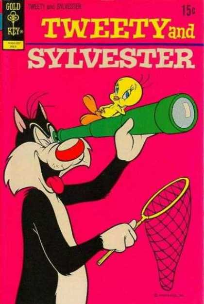 Tweety and Sylvester 25 - On Telescope - Lens - Looking - Net - Mouth Open