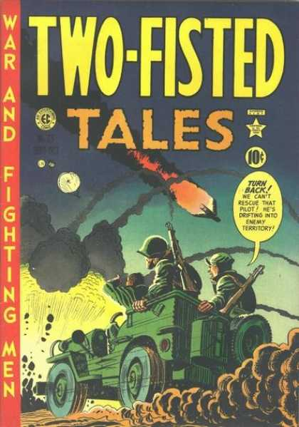 Two-Fisted Tales 23 - War And Fighting Men - Crash - Airplane - Jeep - Soldier - Harvey Kurtzman
