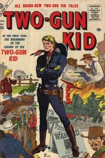 Two-Gun Kid 36 - Cowboy - Pistols - Fence - Holster - Hat