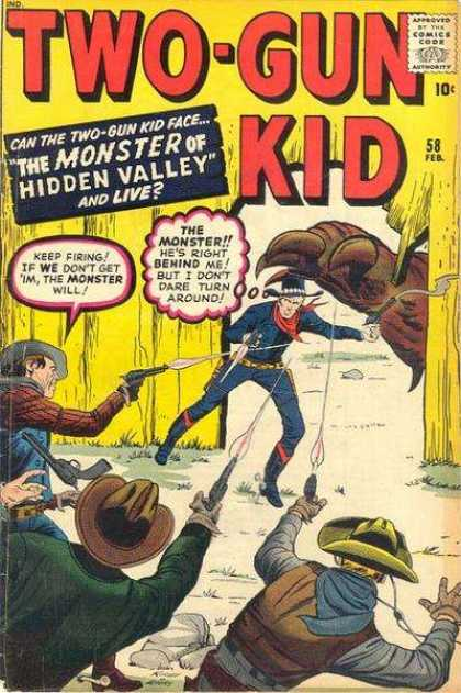 Two-Gun Kid 58 - Comics Code - The Monster Of Hidden Valley - Cowboys - Guns - Shooting