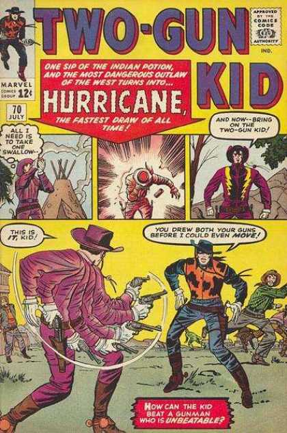 Two-Gun Kid 70 - Hurrican - Indian - Teepee - Cowboy - Gunfight - Jack Kirby
