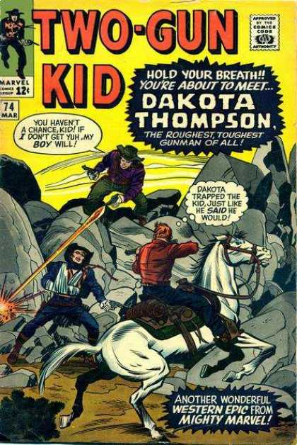 Two-Gun Kid 74 - Dakota Thompson - The Roughest Toughest Gunman Of All - Arm In Sling - White Horse - Hold Your Breath - Jack Kirby