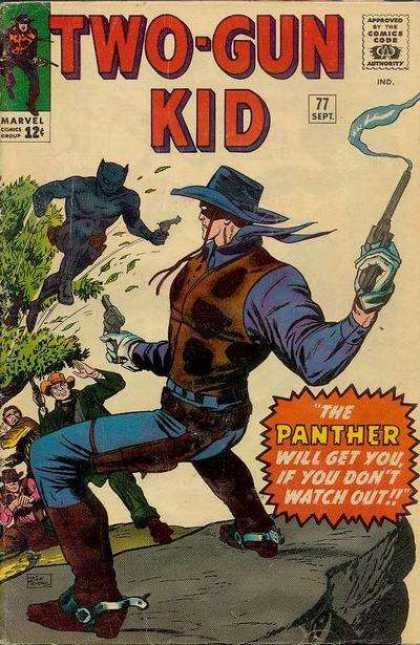 Two-Gun Kid 77 - Marvel Comics - The Panther - Smoking Gun - Black Mask - Cowboy Hat