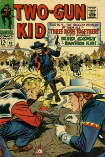 Two-Gun Kid 89 - Horses - Guns - Mountains - Mask - Cowboys