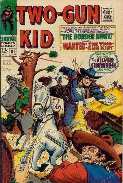 Two-Gun Kid 91 - The Border Hawk - The Silver Sidewinder - Pistol - Horse - Rifle