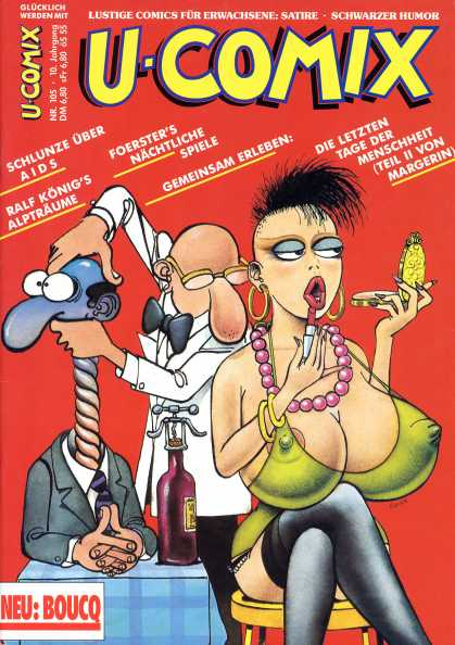 U-Comix 103 - German Comic - Adult Comic - Large Nipples And Even Larger Breasts - Cranking Mans Neck Instead Of Bottle Opener - Woman Applying Makeup