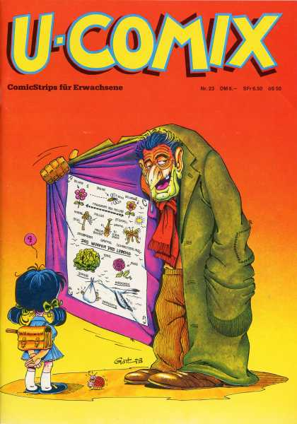 U-Comix 23 - German Comics - Man Holding Open Coat - Comic Strips Fur Erwachsene - Little Girl Looking At Sign Confused - Sign With Birds And Bees On It