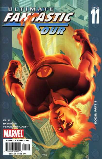 Ultimate Fantastic Four 11 - Mr Four Throws Fire - Above The City - We Will Win - Unconcious - Burning Suit - Stuart Immonen