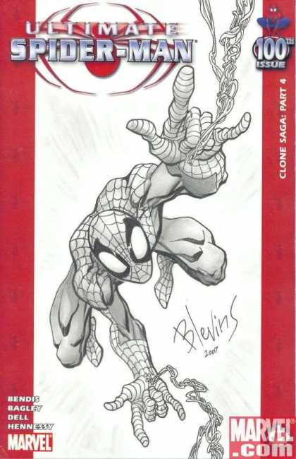 Ultimate Spider-Man 100 - Brett Blevins - Black And White - Web - Spidy - Red - 100th Issue