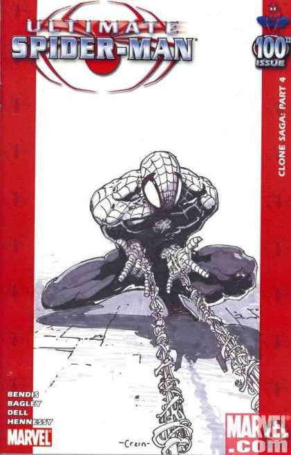 Ultimate Spider-Man 100 - Clayton Crain - Link - White - Empty Page - Muscles - Vertigo