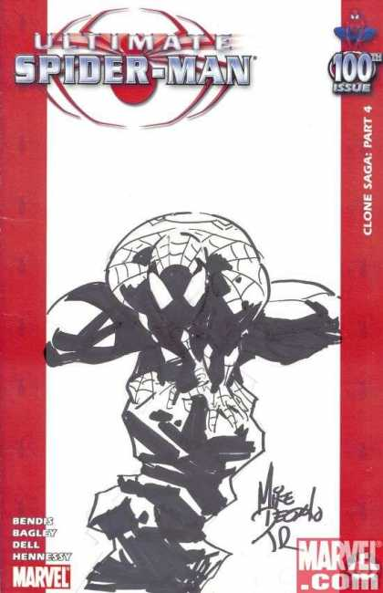 Ultimate Spider-Man 100 - Mike Deodato - 100th - Red - Black And White - Benders - Signed