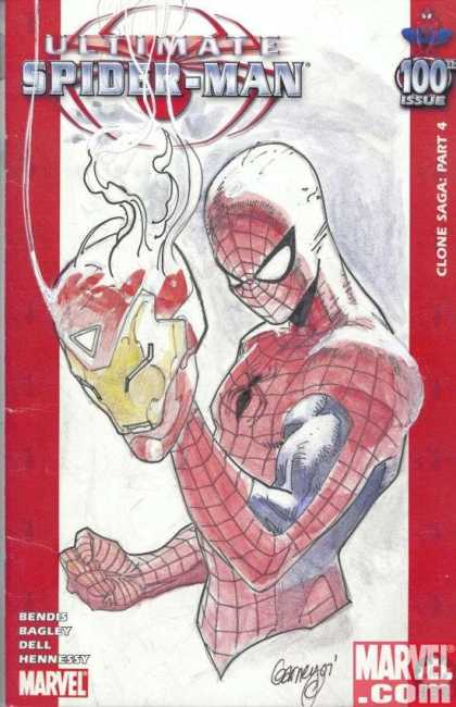 Ultimate Spider-Man 100 - Ron Garney - Spider-man - Iron Man - Marvel Comics - Spider-man Vs Ironman - Masks