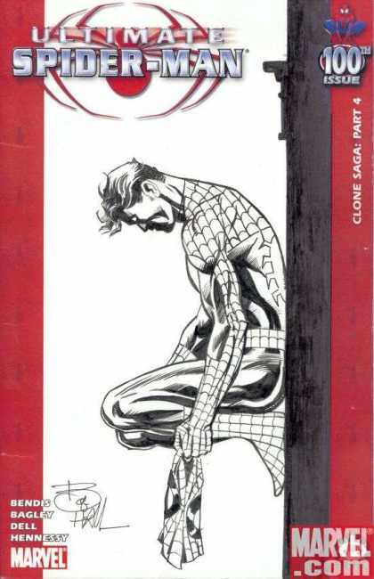 Ultimate Spider-Man 100 - Bob Hall - Marvel - Black And White - Costume - Mask Off - Kneeling