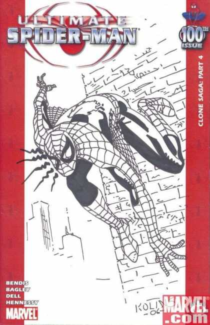 Ultimate Spider-Man 100 - Scott Kolins - Bendis Bagley Dell Hennessy - Black And White - Wall Climbing - Clone Saga Part 4 - Spider Sense