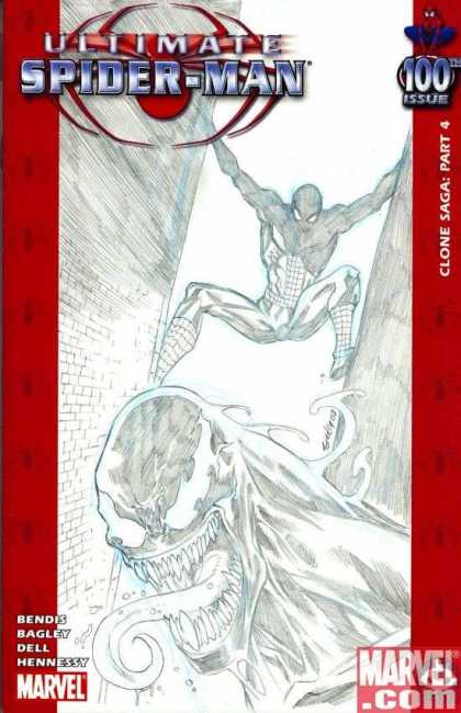 Ultimate Spider-Man 100 - Tim Seeley - Black And White - Clone Saga Part 4 - 100th Issue - Bendis - Venom