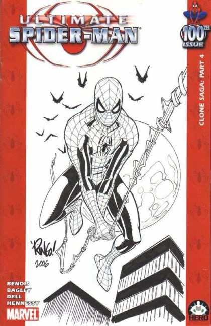 Ultimate Spider-Man 100 - Mike Wieringo - Bendis - Clone Saga - Spider-man - Ultimate - Black And White