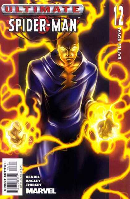 Ultimate Spider-Man 12 - Flames - Glowing Eyes - Electricity - Blue Costume - Glowing Fists - Mark Bagley