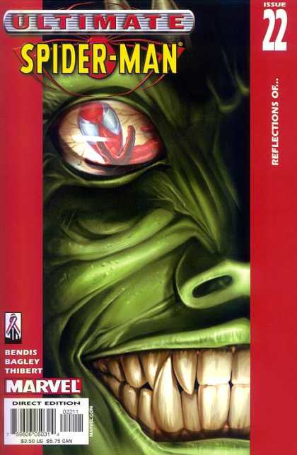 Ultimate Spider-Man 22 - Fangs - Eye - Green - Reflections - Marvel - Mark Bagley