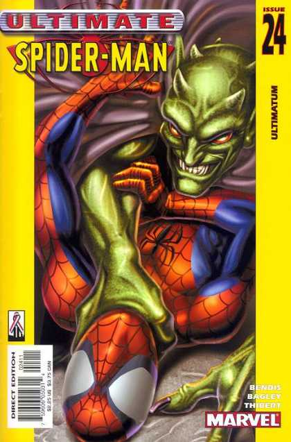 Ultimate Spider-Man 24 - Spidy - Strangling - Purple Cape - Red Eyes - Choke Hold - Mark Bagley